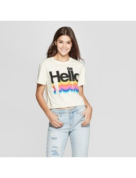 womens-short-sleeve-oh-hello-cropped-t-shirt---mighty-fine-(juniors)---cream by shirt