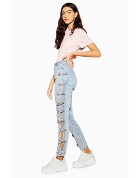bleach-side-buckle-mom-jeans by topshop