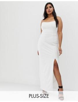 club-l-london-plus-square-neck-midaxi-dress-in-white by club-l
