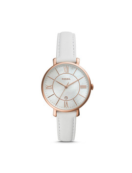 Jacqueline Three Hand Date White Leather Watch by Fossil