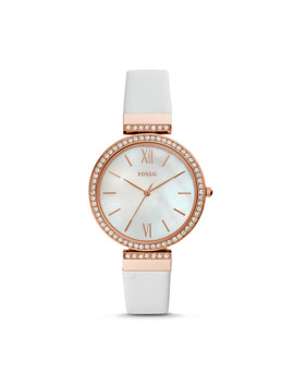 Madeline Three Hand White Leather Watch by Fossil