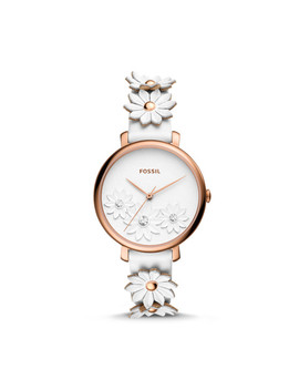 Jacqueline Three Hand White Leather Watch by Fossil