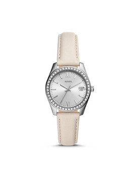 Scarlette Mini Three Hand Date Winter White Leather Watch by Fossil