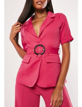 hot-pink-co-ord-short-sleeve-belted-blazer by missguided