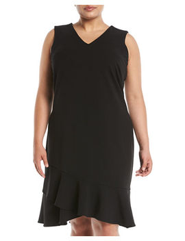 V Neck Ruffle Hem Dress, Plus Size by Iconic American Designer