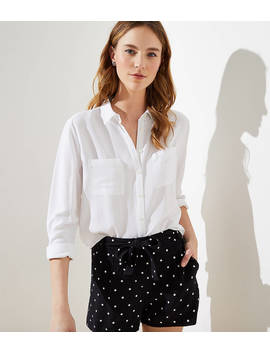 dotted-crepe-tie-waist-shorts by loft