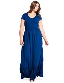 Women's Plus Size Cap Sleeve Knit Scoop Neck Maxi Dress by Lands' End