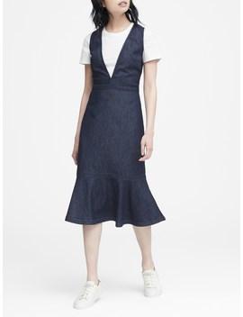 Japan Exclusive Denim Deep V Neck Dress by Banana Repbulic