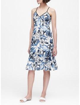 Floral Linen Cotton Midi Dress by Banana Repbulic