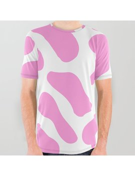 girly-soft-pink-cow-spots-pattern-all-over-graphic-tee by society6