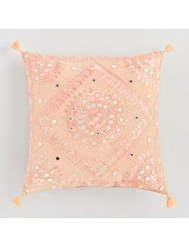 Peach Mirrored Embroidered Throw Pillow by World Market