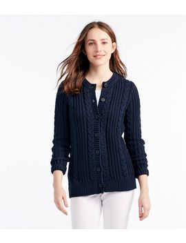 Rope Stitch Shaker Sweater, Button Front Cardigan by L.L.Bean