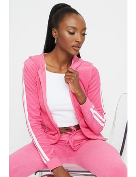 Textured Terry Side Stripe Hooded Zip Up Sweater by Urban Planet