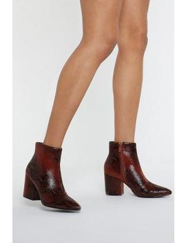 Bite Me Snake Ankle Boots by Nasty Gal