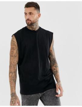 asos-design-oversized-longline-sleeveless-t-shirt-in-black by asos-design
