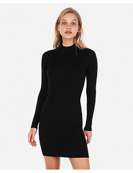 Fitted Mock Neck Ribbed Sweater Dress by Express