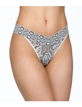 Cross Dyed Floral Lace Original Rise Thong by Hanky Panky
