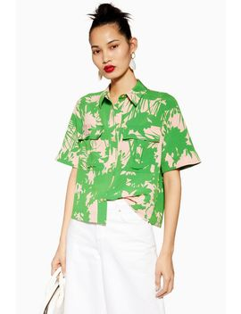 Green Abstract Floral Shirt by Topshop