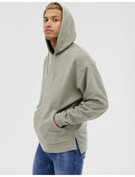 asos-design-oversized-hoodie-with-step-hem-in-light-khaki by asos-design