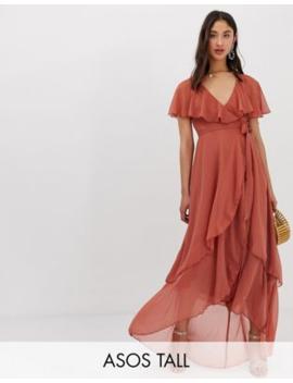 asos-design---tall---lange-jurk-met-cape-en-lange-achterkant by asos-design
