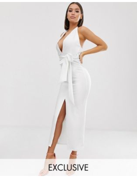 missguided-plunge-midaxi-dress-in-white by missguided