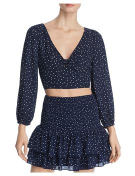Polka Dot Tie Front Cropped Top   100% Exclusive by Bb Dakota