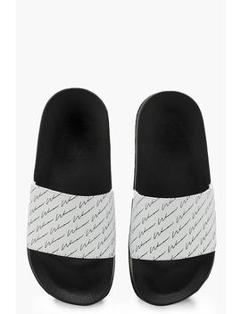 repeat-print-woman-slogan-sliders by boohoo