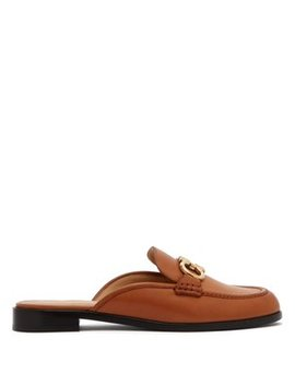 gancini-backless-leather-loafers by salvatore-ferragamo