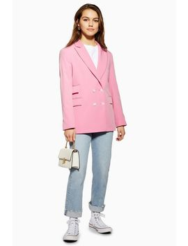 Petite Pink Double Breasted Suit Jacket by Topshop