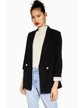 Black Double Breasted Blazer With Linen by Topshop