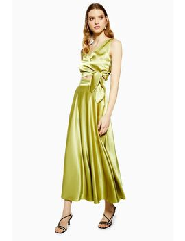 Olive Satin Full Circle Midi Skirt by Topshop