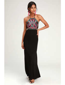 Little Beach Black Embroidered Maxi Dress by Lulus