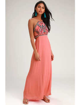Little Beach Coral Pink Embroidered Maxi Dress by Lulus