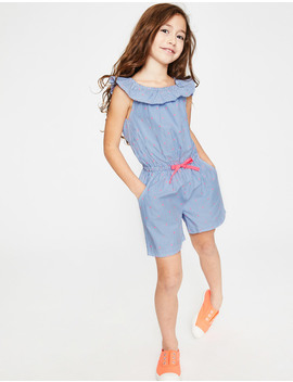 Ruffle Neck Woven Romper by Boden