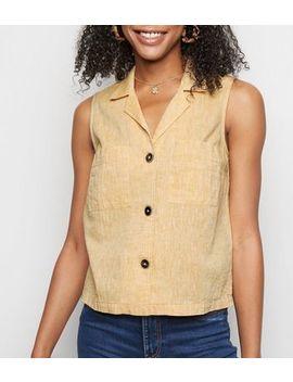 Yellow Linen Blend Sleeveless Shirt by New Look