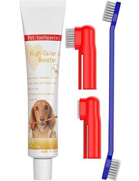 Dog Toothpaste And Toothbrush Set [Removes Food Debris] Double Sided With Long Curved Handle [Super Easy Cleaning]   Best Soft Silicone Pet Toothbrush For Cats And Dogs [Expandable Finger Entry]   Sma by Ortz