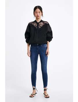 Z1975 Frayed Hem Skinny Jeans High Waist Jeans Woman by Zara
