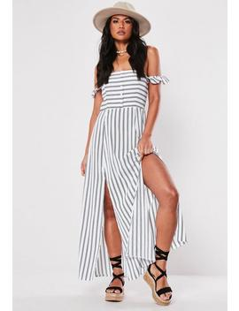 White Stripe Bardot Button Down Maxi Dress by Missguided