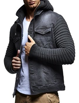 Leif Nelson Ln5240 Men's Denim Jacket With Knitted Sleeves by Leif Nelson