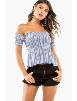 Smocked Two Tone Stripe Off Shoulder Top by A'gaci