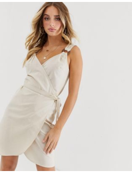 Asos Design Linen Wrap Mini Sundress With Wooden Rings by Asos Design