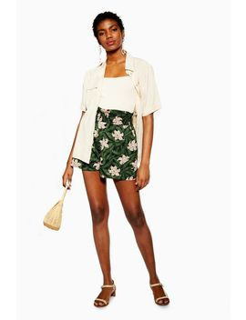 Green Hibiscus Floral Shorts by Topshop