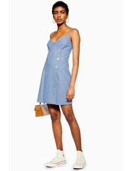 Blue Stripe Wrap Dress by Topshop
