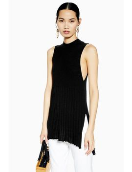 Knitted Ribbed Long Line Tank Top by Topshop