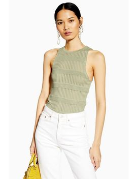 Sage Ottoman Knitted Rib Tank Top by Topshop