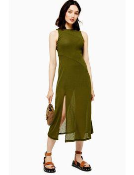 Khaki Sleeveless Mesh Midi Dress by Topshop