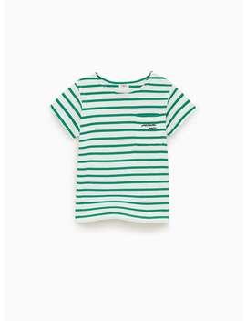 Gestreept T Shirt Met Borstzakje Prints T Shirts Meisjes by Zara