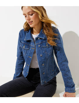 Tall Polka Dot Denim Jacket by Loft