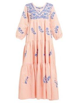 Frangipani Embroidered Cotton Blend Dress by Muzungu Sisters