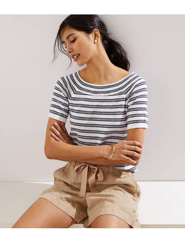 Striped Boatneck Short Sleeve Sweater by Loft